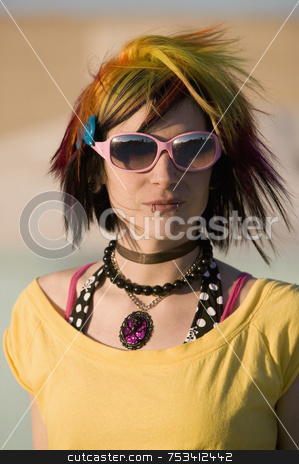 Punk Girl with Bright Colorful and Big Sunglasses stock photo, Portrait of a Punk Girl with Bright Colorful and Big Sunglasses Outdoors at Sundown by Scott Griessel