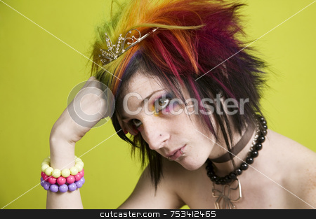 Punk woman with bright makeup stock photo, Close-up of a woman with bright mascara and colorful hair by Scott Griessel