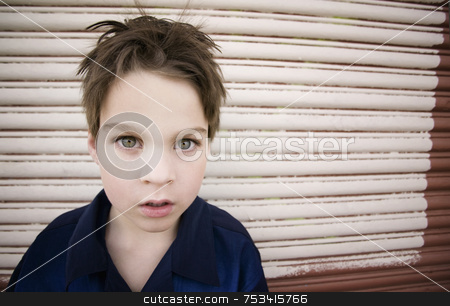 Boy Staring Blankly stock photo, Young Boy with a Blank Stare and Green Eyes by Scott Griessel