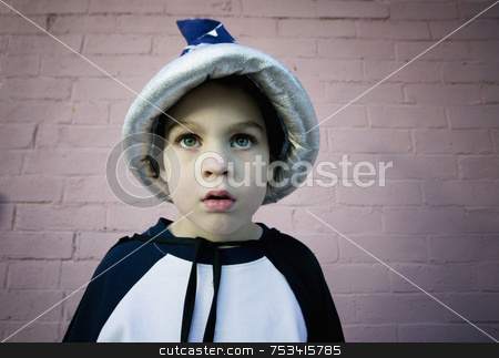 Wizard Boy stock photo, Close-up of a young boy in a wizard costume by Scott Griessel
