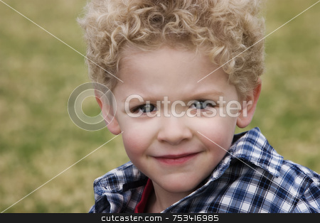Smiling Boy stock photo, Smiling young boy in a plaid shirt with grass in the background by Scott Griessel