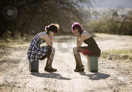 Girsl waiting on a rural road stock photo, Two punk women sitting on suitcases and waiting on a rural road by Scott Griessel