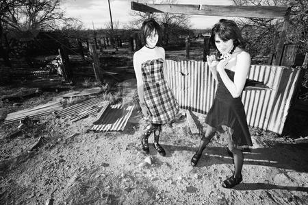 Girls Having Fun stock photo, Punk Girls in a Rural Setting Having Fun by Scott Griessel