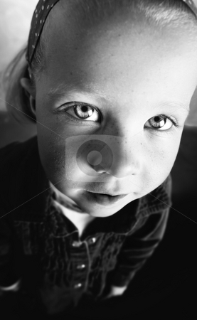 Wide angle shot of little girl stock photo, Little girl's face distorted in a wide angle lens shot by Scott Griessel