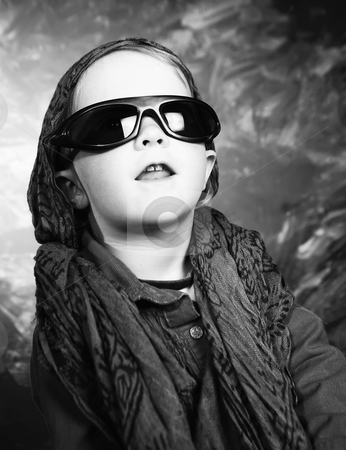 Little girl with sunglasses stock photo, Little girl with sunglasses in a studio by Scott Griessel