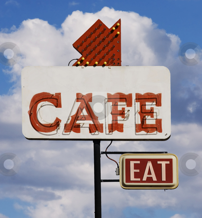 Cafe Eat Sign stock photo, Old cafe sign with the word