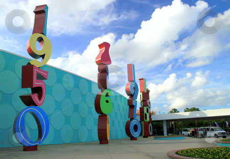 Pop Century stock photo, The decades of music outside a hotel by Lucy Clark
