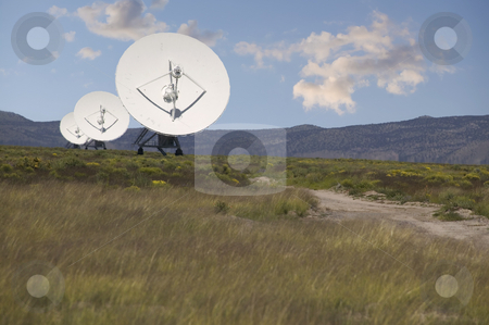 Radio Telescopes stock photo, Radio Telescopes in New Mexico on a cloudy day by Scott Griessel