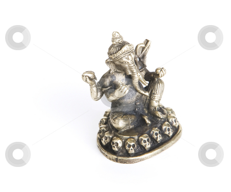 Ganesh on a White Background stock photo, Bronze Ganesh Statue Isolated on a White Background by Scott Griessel