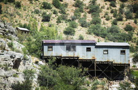 Miner's Shack, Bisbee, Arizona stock photo, Corrugated metal miner's shack perched on an Arizona hillside. by Scott Griessel