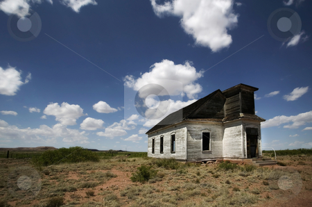 Abandoned Rural Church stock photo, Abandoned and forgotten rural church against a deep blu sky. by Scott Griessel