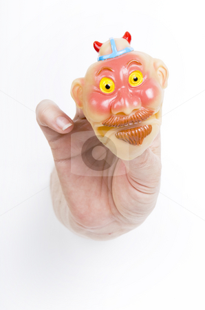 Novelty Face stock photo, Funny squishy face held by fingertips by Scott Griessel