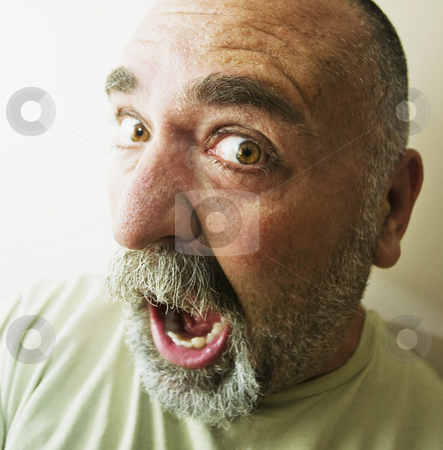 Screaming Man stock photo, Protrait of an screaming bald man with a beard. by Scott Griessel