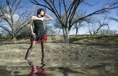 Punk fashion model stock photo, Punk fashion model in front of dead trees by Scott Griessel