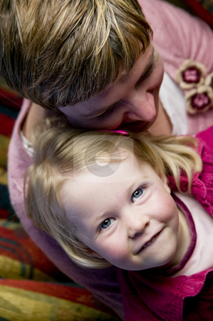 Little girl and her mother stock photo, Portrait of a preschool girl with her mother by Scott Griessel