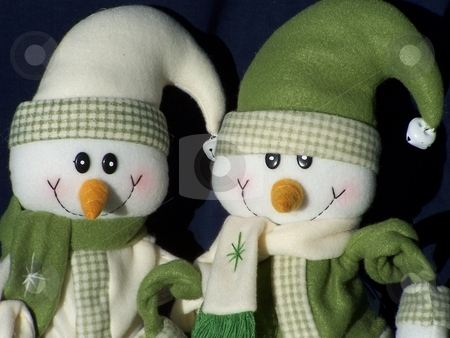 Snowmen stuffed animals stock photo, Image of two snowmen dressed up for winter in sweaters and scarves by CHERYL LAFOND
