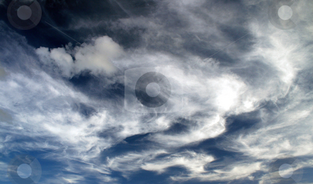 Whispy Clouds stock photo, A lot of whispy white clouds in the sky. by Lucy Clark