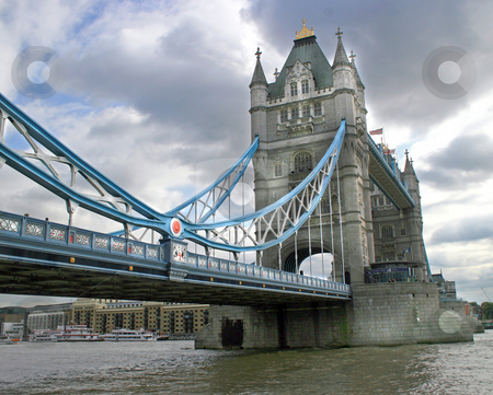 Tower Bridge stock photo, Low perspective of Tower Bridge, London,UK. by Lucy Clark