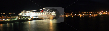 Dock at Night stock photo, Cruise Ship docked at night by Lucy Clark