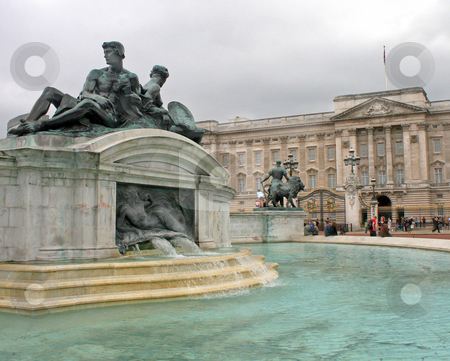 Palace and Statues stock photo, Ancient Building, statues and fountain in London UK. by Lucy Clark