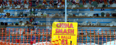 China Smash with Bubbles stock photo, A photo of a china smash game with bubbles going across. by Lucy Clark