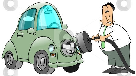 Plugging In An Electric Car stock photo, This illustration depicts a man connecting an electric car with a huge plug on the hood. by Dennis Cox