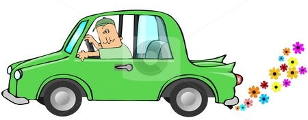 Clean Exhaust stock photo, This illustration depicts a green car with flowers coming from the exhaust. by Dennis Cox