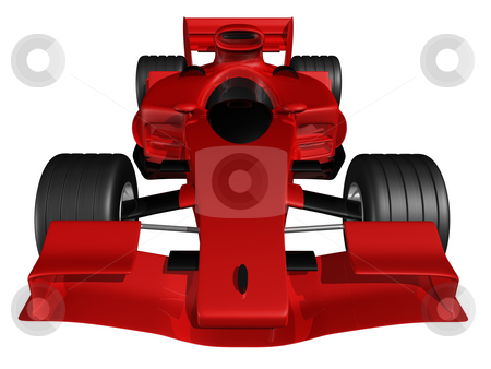 Red 3D race car front view on white background stock photo, Red 3D race car front view on white background by John Teeter