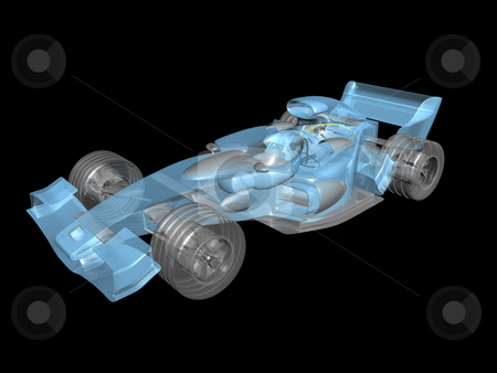 3D transparent race car stock photo, 3D transparent race car on black background by John Teeter