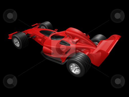 Red 3D race car rear view on black background stock photo, Red 3D race car rear view on black background by John Teeter