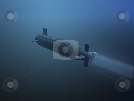 3D submarine rear view stock photo, 3D submarine under water rear view by John Teeter