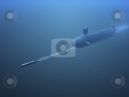 3D submarine shooting  missle stock photo, 3D submarine shooting missle side view by John Teeter