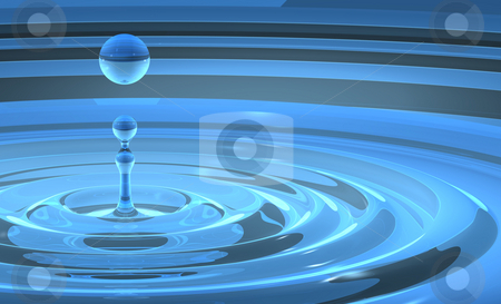 Water Splash With Rising Droplet stock photo, 3D illustration of blue pool with water column and droplet rising. Smooth and slky water with concentric ripples, the 3D scene is built to resemble a natural splash occurence. Great swirls and complex reflections. by ngirl
