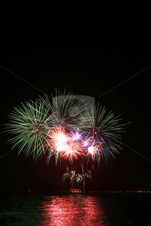 Colorful dandelion fireworks stock photo, Colorful dandelion fireworks by the bay by Jonas Marcos San Luis