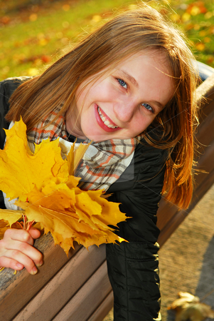 Girl with maple leaves stock photo, Portrait of a beautiful teenage girl with yellow fall maple leaves by Elena Elisseeva
