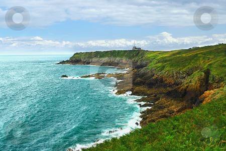 Atlantic coast in Brittany stock photo, Landscape of rocky Atlantic coast in Brittany, France by Elena Elisseeva