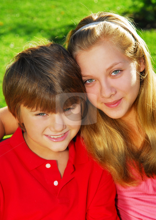 Brother and sister stock photo, Portrait of two children - brother and sister by Elena Elisseeva