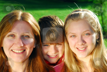 Family portrait stock photo, Portrait of a happy family - mother with her children by Elena Elisseeva