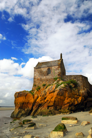 Mont Saint Michel stock photo, Fragment of Mont Saint Michel abbey in France by Elena Elisseeva