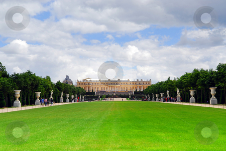 Versailles gardens and palace stock photo, Simmer view of Versailles palace and gardens, France. by Elena Elisseeva