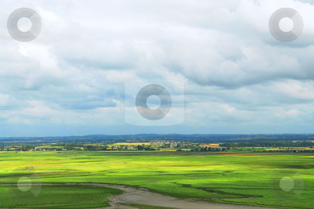 Landscape in Brittany stock photo, Summer landscape in Brittany, view from Mont Saint Michel, France by Elena Elisseeva