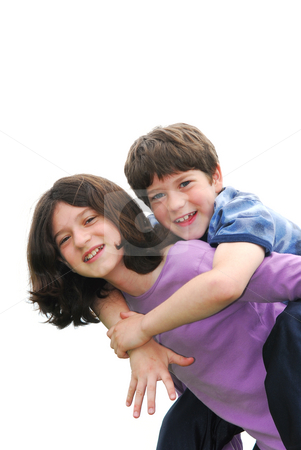Children playing stock photo, Portrait of children brother and sister playing isolated on white background by Elena Elisseeva
