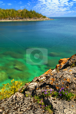 Scenic lake view stock photo, Beautiful view of a scenic lake with clear water. Georgian Bay, Canada by Elena Elisseeva