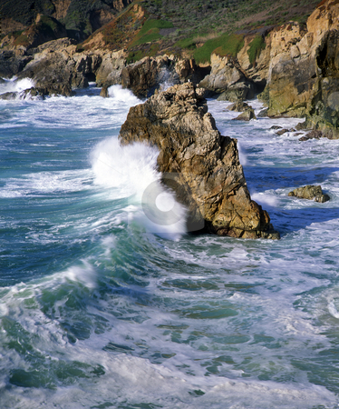 Big Sur Coast 4 stock photo, A wave crashing on a seastack along the Big Sur Coast of California. by Mike Norton