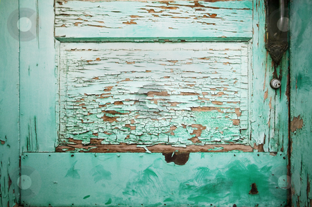 Blue Green Door Detail stock photo, Detail of Blue Green Door with Peeling Paint. by Scott Griessel