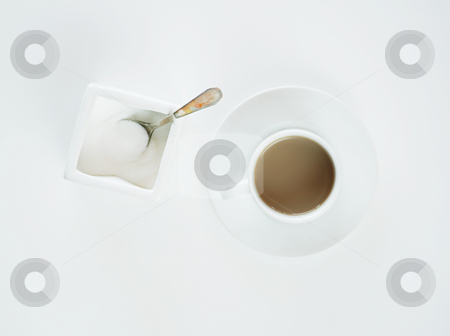Coffee on White stock photo, Coffe in espresso cup and sugar container on a white background. by Scott Griessel