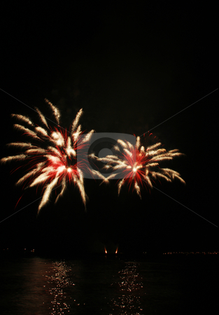 Spider-like fireworks stock photo, Red and white spider-like fireworks by the bay by Jonas Marcos San Luis