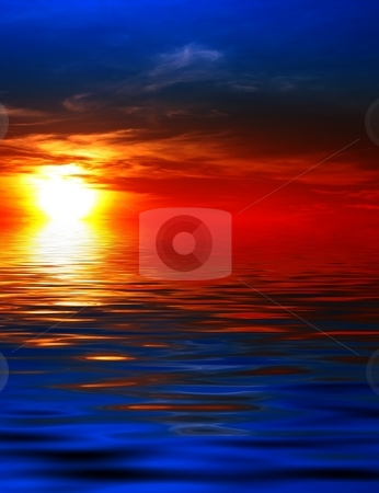 Sunset on water stock photo, Stunning sunset on the sea or lake by Dario Rota