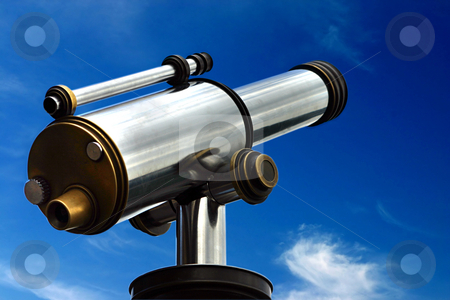 Spyglass in the sky stock photo, A spyglass is pointed towards the sky. It's a symbol of foresight and forecast. You can look at your targets and clearly see towards the horizons by Dario Rota