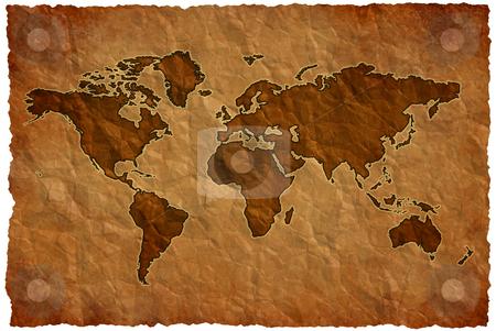 Crumple paper world map stock photo, World map on crumple sheet background by Dario Rota